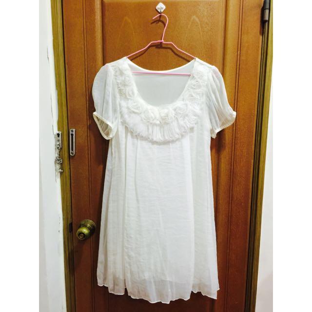 含運價 白色雪紡玫瑰領空洋裝,長洋裝,孕婦裝