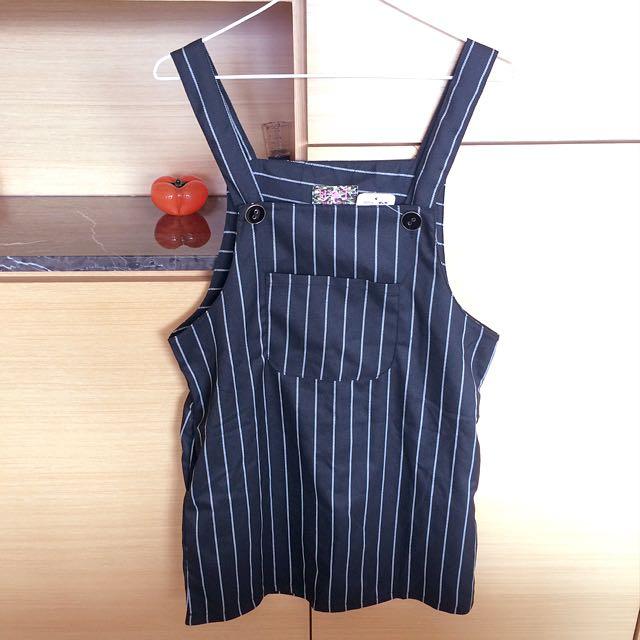 韓版直條吊帶裙 黑色