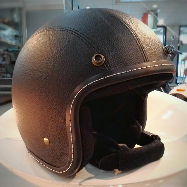 復古皮革高質感安全帽 vespa 偉士牌 一般機車通用