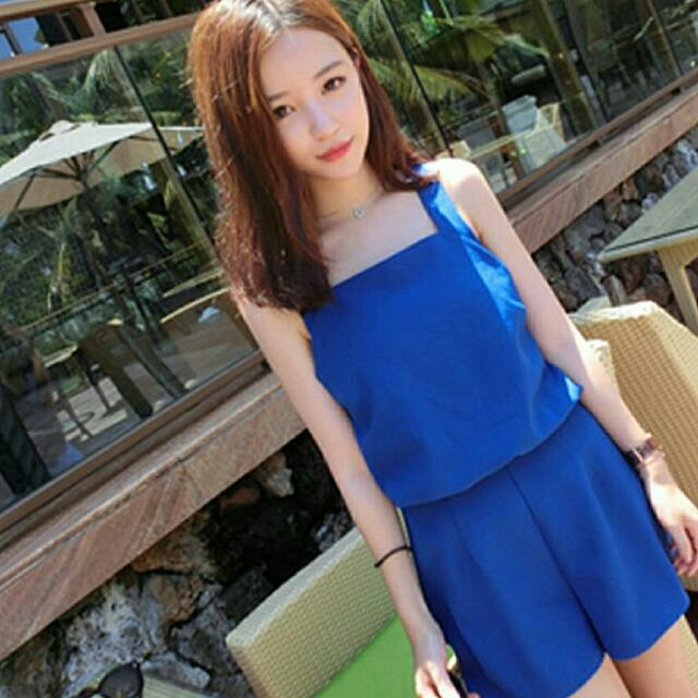 Brand New Blue Romper/Pinafore