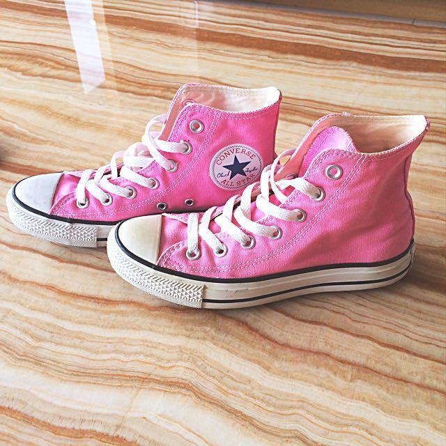 Converse 粉色高筒