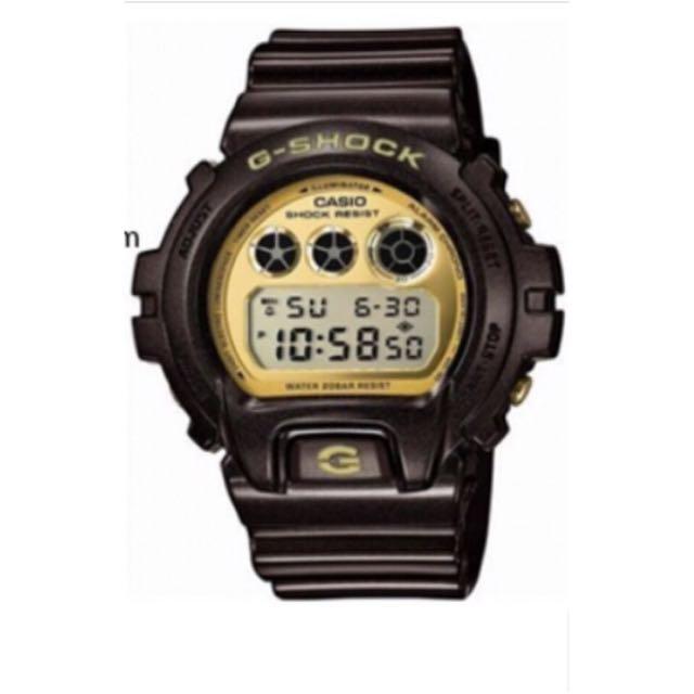 G-SHOCK黑金色系限量運動液晶時尚腕錶(DW-6900BR-5CR)