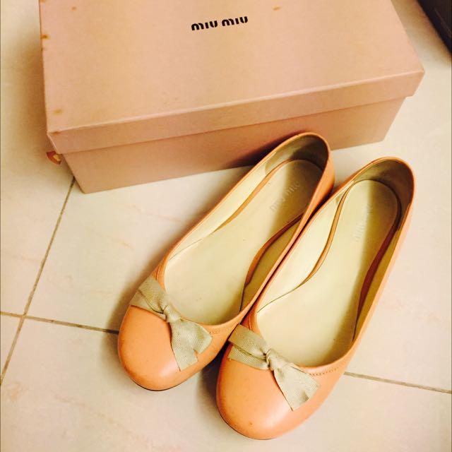 《二手》MIU MIU 粉色平底娃娃鞋