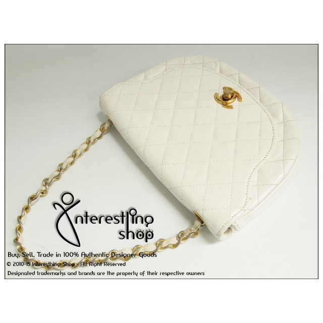 8ffeadc3c62ada *SOLD* - # 4136-02. Authentic Chanel White Quilted Lambskin Half Moon  Shoulder Sling Bag GHW, Luxury on Carousell