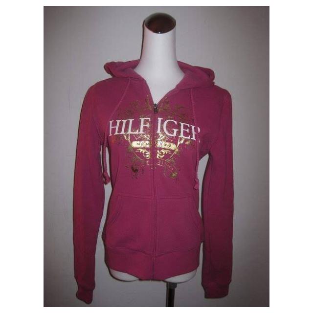 TOMMY HILFIGER 女生梅紅色連帽刷毛外套  尺寸: XS 全新商品~吊牌在 $900免運