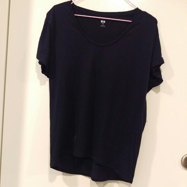 UQ木代爾棉寬版t恤-黑m號