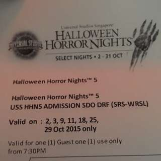 [PENDING] Selling 1 Pair Of USS Halloween Horror Night Tickets (HHN5)
