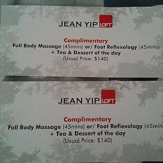 Jean yip Complimentary massage Vourcher