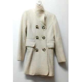 🚚 羊毛超厚米色米白色內裡冬天厚大衣風衣外套排釦英倫風 長大衣 口袋翻領