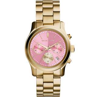 (預購)Michael Kors 甜美雅興時尚三眼腕錶-粉色X金/37mm