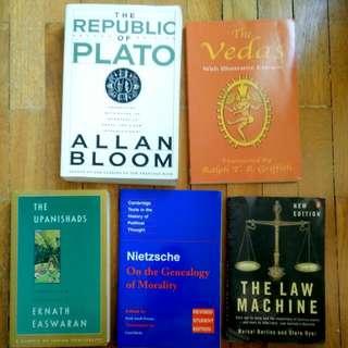 Philosophical Texts (Plato's Republic, Nietzsche, The Law Machine by Berlins & Dyer, Upanishads, Vedas)
