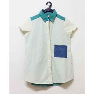 撞色拼接牛仔棉麻襯衫 復古可愛 古著 湖水綠 米色 短袖