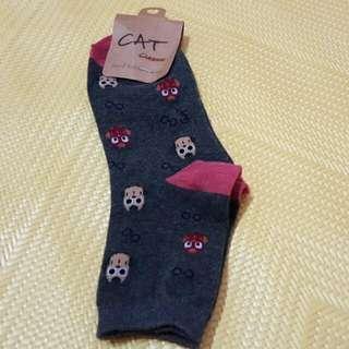 貓頭鷹樣式 灰色中統襪
