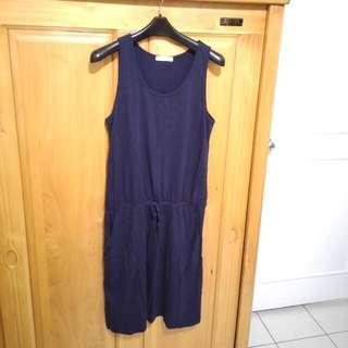 Lativ 腰間綁帶深藍洋裝