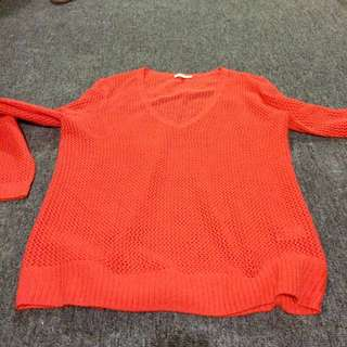 Orange Knitted Top, Size L