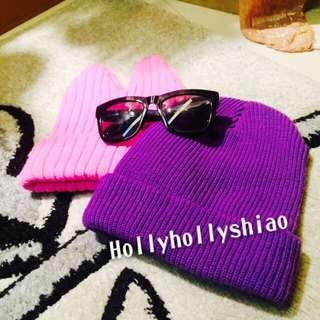 全新➰螢光粉小惡魔毛帽/紫色外摺毛帽➰