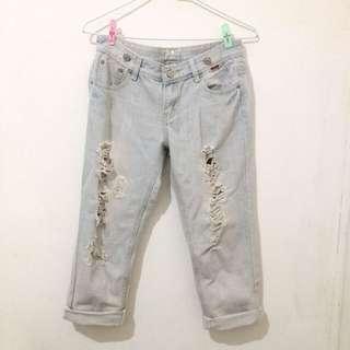 淺藍 七分褲 男友褲