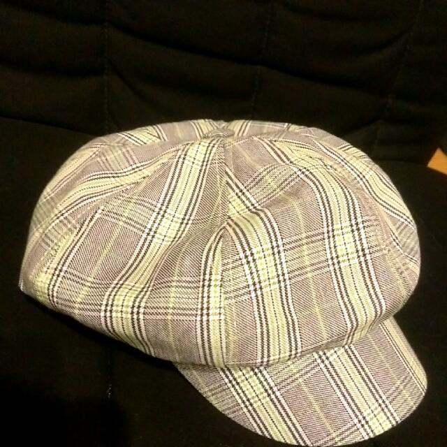正韓綠黑格紋報童帽