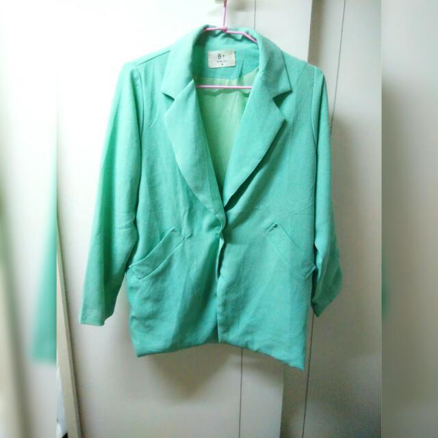 蒂芬妮綠嫩綠色厚雪紡西裝大衣外套