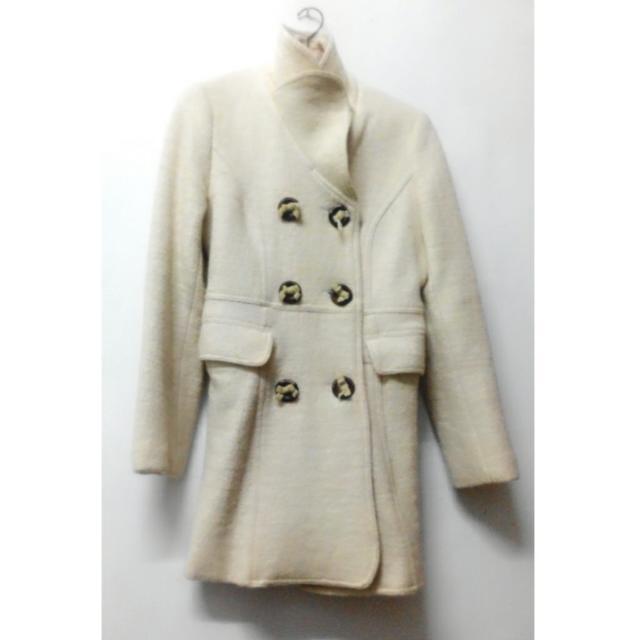 羊毛超厚米色米白色內裡冬天厚大衣風衣外套排釦英倫風 長大衣 口袋翻領