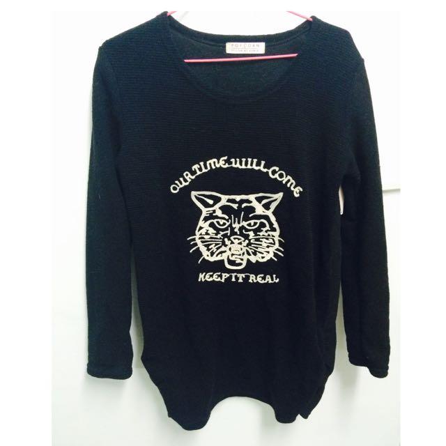 黑色豹長毛衣