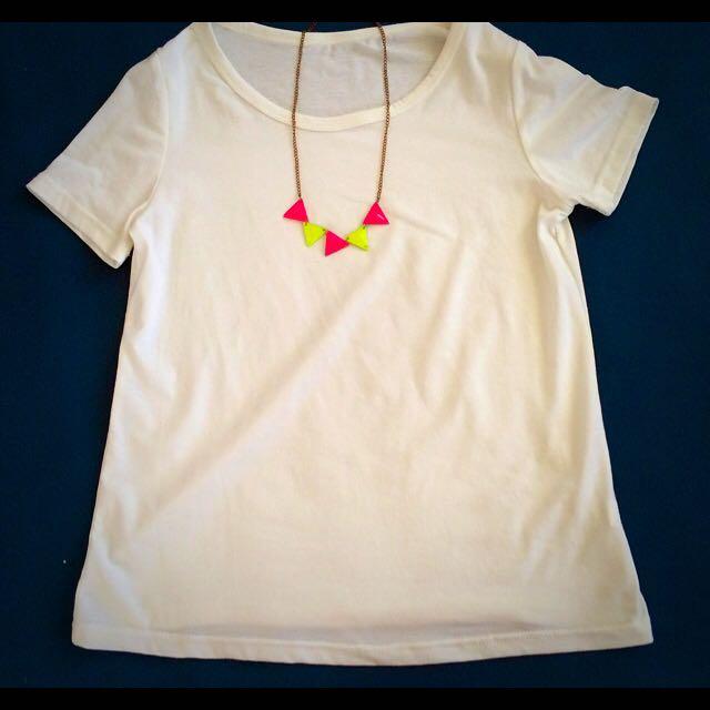 韓✨螢光黃/螢光粉撞色三角形項鍊