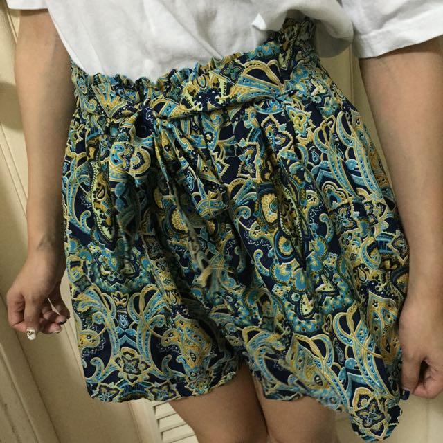 變形蟲圖騰綁帶彈性褲裙 寄賣