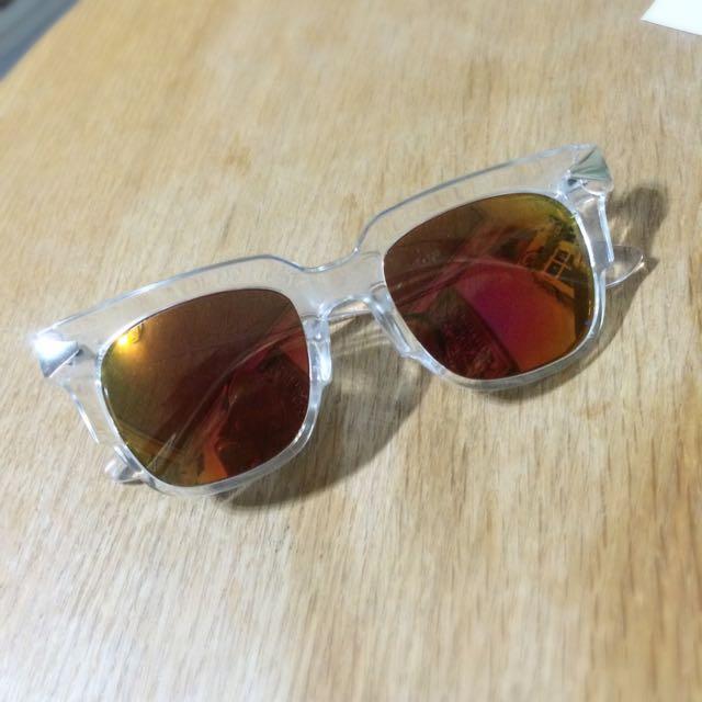 透明鏡框反光墨鏡