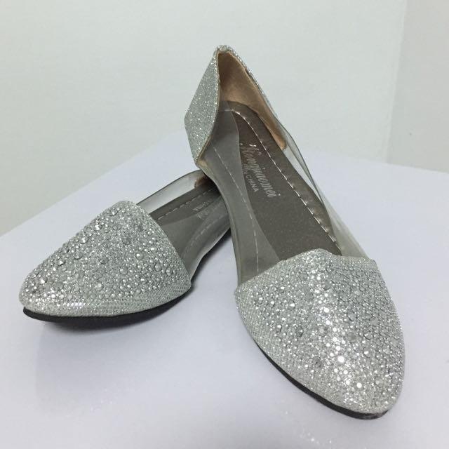 全新 平底包鞋 涼鞋 側邊透明 亮片 銀 35號