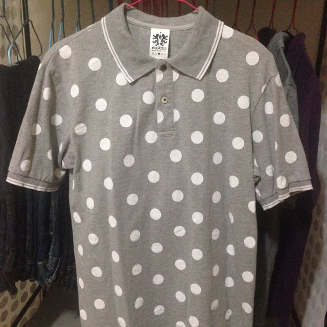 (二手)灰色白點點 Polo衫 大點點 白點點 165~170著用