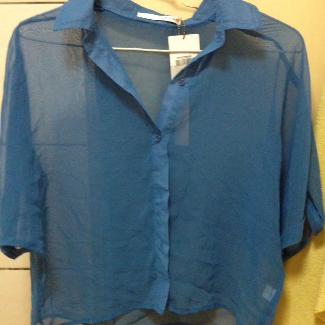 ⭐️降價⭐️Air Space 藍色 雪紡 襯衫