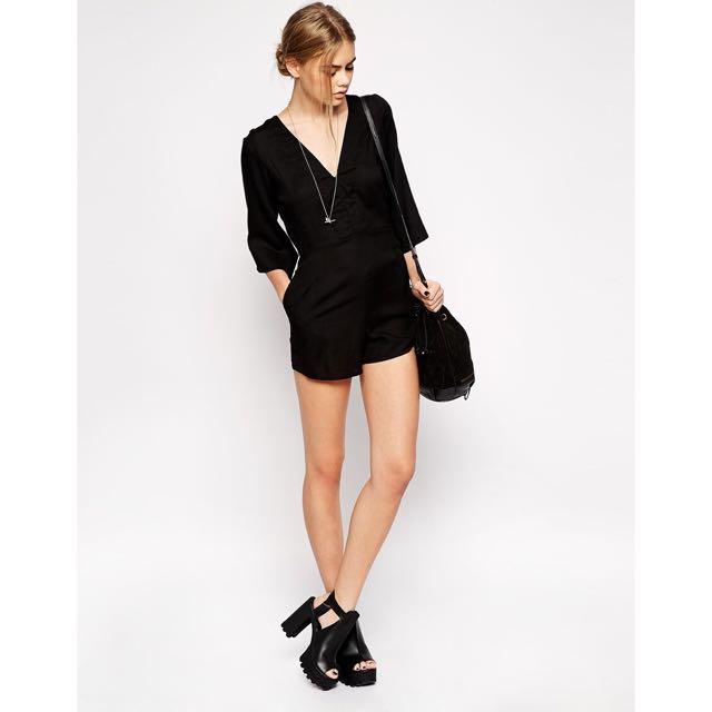 ASOS Motel Valeria Open Back Kimono Sleeve Playsuit Romper