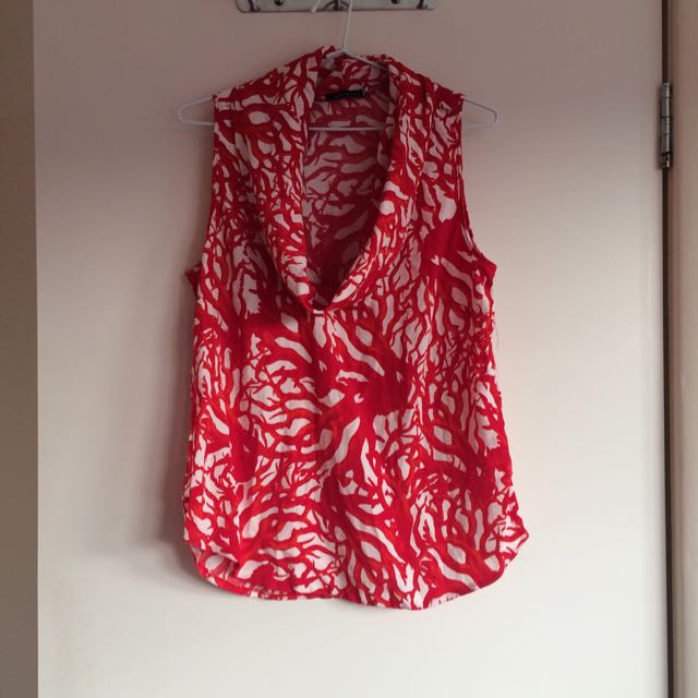 Barkins Red and White Cow Neck Top