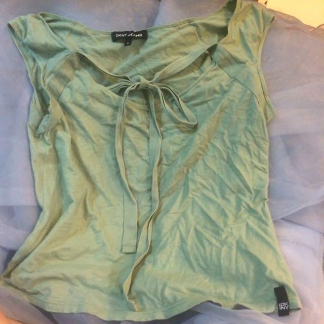 Dkny 湖水綠棉質短版上衣