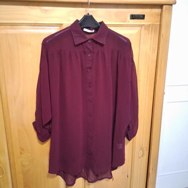 (保留中)STARMIMI酒紅雪紡襯衫
