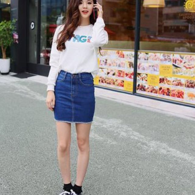 shoes for cheap new photos 50% price Straight Cut Denim Skirt, Women's Fashion on Carousell