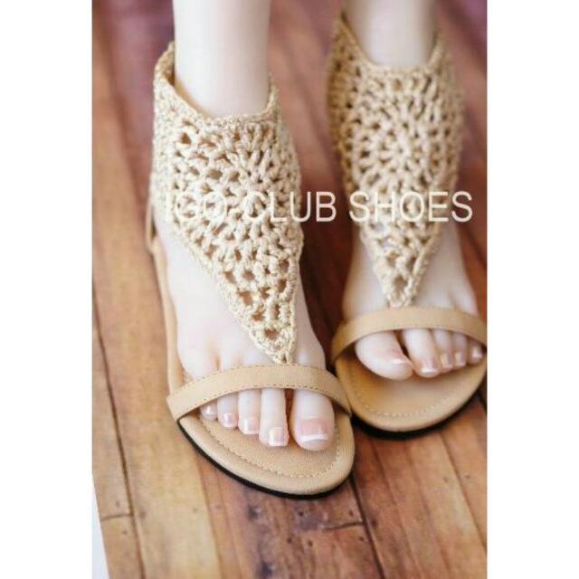 裸色歐美復古風編織軟緞面T型夾腳平底涼鞋