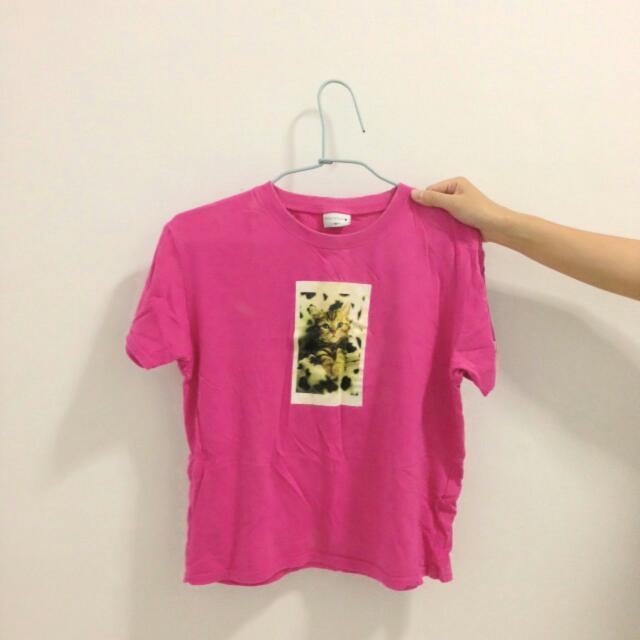 桃紅貓咪短袖Tshirt