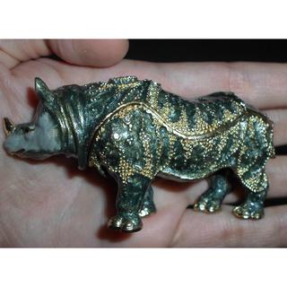 Rhino Swarovski Crystal Decoration & Metal Cast Animal Deco Jewelry Box Feng Shui Jewellery Gift Case