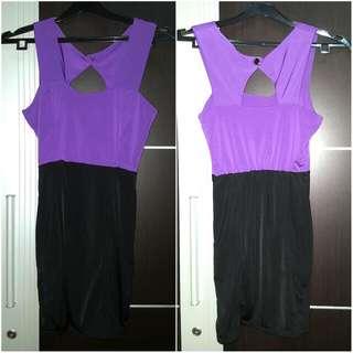 Purple Black Mini Dress