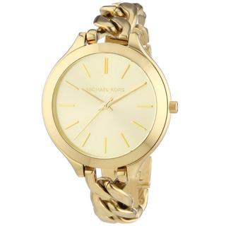 (預購)Michael Kors 都會時尚伸展台薄型手鍊腕錶-金