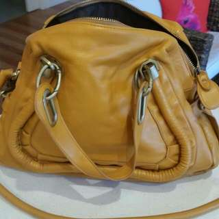 Leather Handbag Yellow. Never Used.