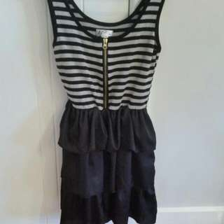 Baby Doll Style Dress. Cotton Striped Top With Ruffled Skirt Size M but fits from Size 8-12