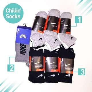 1. Nike Swoosh Logo Socks 腳踝襪 (黑/白/灰) 2.Nike SB Logo Crew Socks 中筒襪 (灰) 3.Nike Swoosh Logo Socks 中筒襪 (黑/灰)