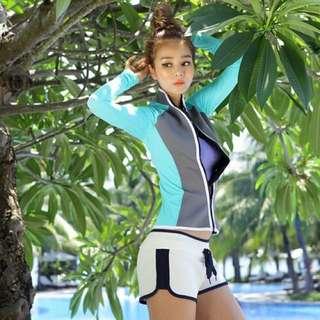 女款 水母衣 防寒衣(身體潛水布 手部泳衣材質)