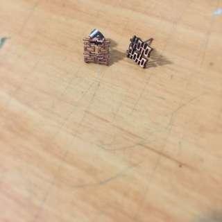 古銅雙囍耳環