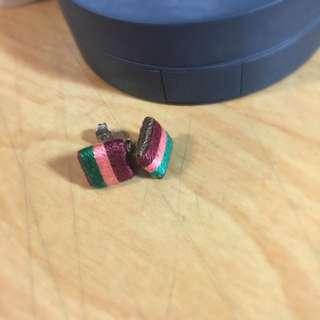 普普柔和配色條紋耳環