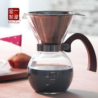 手沖雙層不鏽鋼(304)濾網&玻璃分享杯 組合(含運)(詢問有優惠)