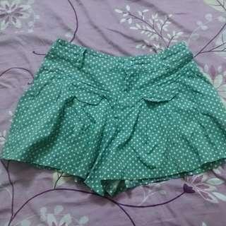 粉綠色圓點褲裙