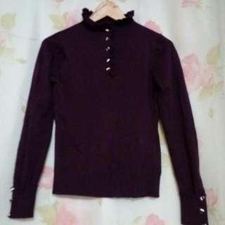 花苞領排扣紫色針織衫